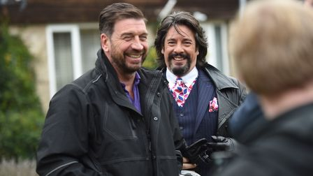 Nick Knowles and Laurence Llewelyn-Bowen during filming for DIY SOS in Mildenhall. Picture: GREGG BR
