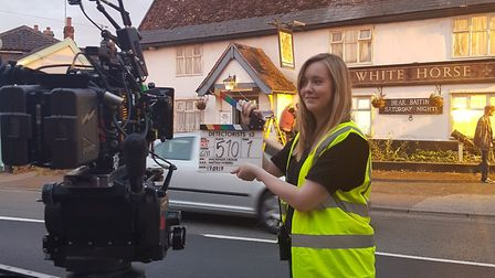 Aine Kirwan on the set of Detectorists was one of several to gain work placements on productions fil