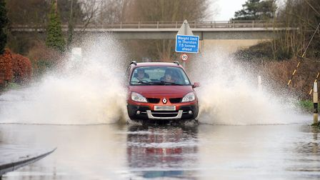 Heavy rainfall has caused localised flooding across Suffolk. Picture: PHIL MORLEY