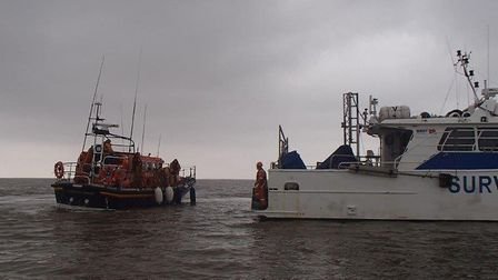 Aldeburgh RNLI's Freddie Cooper lifeboat rescues a casualty from onboard a survey ship. Picture: ALD