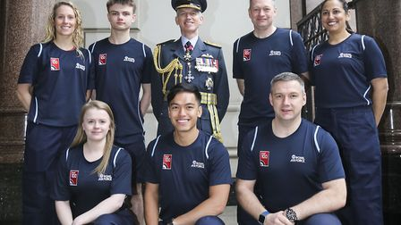 Mr Ferguson (second from right on the back row) with other RAF100 Baton Relay runners and the Chief