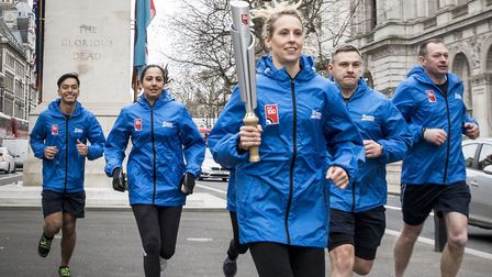Mr Ferguson (far right) and other RAF100 Baton Relay runners at the Cenotaph in London. Picture: SAC