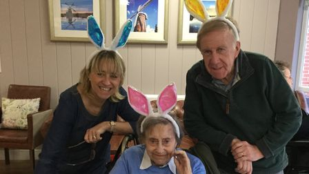 Davers Court resident Lizzie Farrance celebrating Easter with her family. Picture: DAVERS COURT