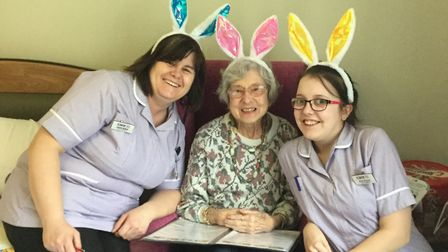 Davers Court's Jayne Bailey, resident Olwyn Hopkins, and team member Amy Sharpe. Picture: DAVERS COU