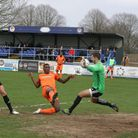 GOAL: Dan Thompson's point-blank shot bounces off Hungerford 'keeper Oliver Davies and is about to