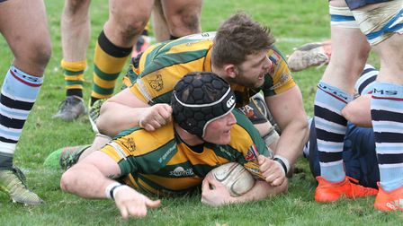 Bury's Dan Swithenbank goes over for a try on Saturday against Redingensians. .Photo: SHAWN PEARCE.