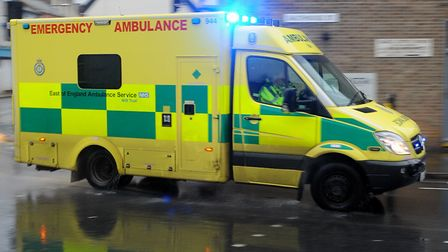 The ambulance service was on the scene. Picture: SIMON PARKER