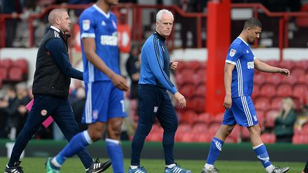 Mick McCarthy leaves the pitch following Ipswich Town's 1-0 loss at Brentford. Photo: Pagepix