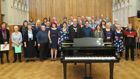 The mayor of Stowmarket, Dave Muller, attended the choir's charity concert. Picture: GRAEME HOPSON