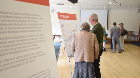 Visitors to a bypass consultation exhibition held at the Riverside Centre, Stratford St Andrew, in S