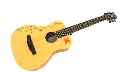 Ed Sheeran's signed guitar. Picture: JAMES SHAND