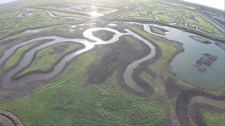 An aerial drone photo showing part of Essex Wildlife Trust's Tollesbury Wick nature reserve after th