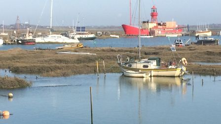 The iconic lightship moored beside Tollesbury Wick natrure reserve. Picture: JOHN GRANT
