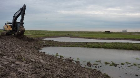 Work being carried out during the Tollesbury Wick nature reserve re-wetting project. Picture: ESSWX