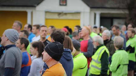 Runners receive their last-minute instructions from organisers before Saturday's Colchester Castle p