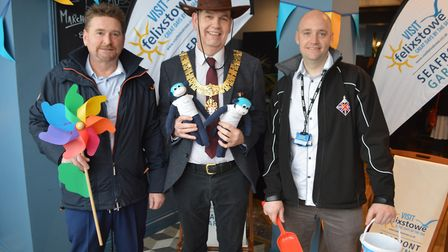 Nick Barber (centre), chairman of the Visit Felixstowe Tourism Working Group, announced the six shor