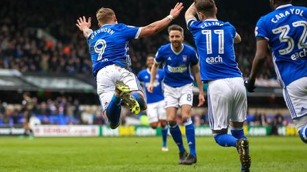 A flying Martyn Waghorn after he had scored Towns second in 2-2 draw against Millwall. Picture: S