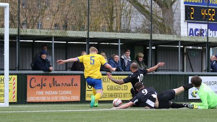 Kelsey Trotter can't quite convert for Woodbridge at AFC Sudbury Reserves. Picture: PAUL LEECH