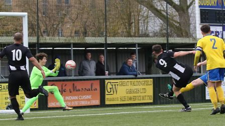 Mark Ray goes close for Woodbridge Town at AFC Sudbury. Picture: PAUL LEECH