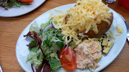 Jacket potato with tuna and cheese. Picture: Charlotte Smith-Jarvis