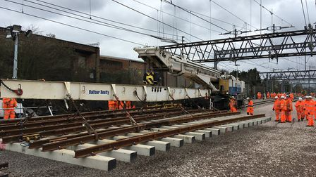 Network Rail engineers worked over the Easter holiday to replace track at Gidea Park between Shenfie