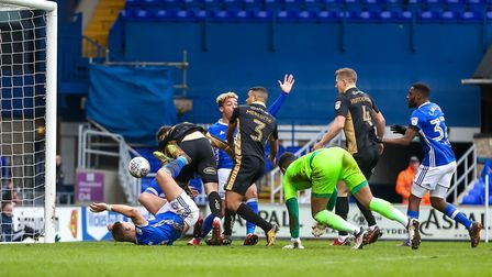 Martyn Waghorn flicks the ball up and towards goal ahead of Town's first in the 2-2 draw against Mil