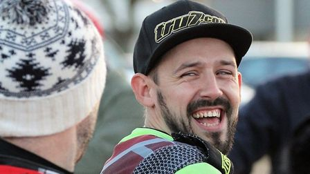 Danny King, sharing a joke with a bobble-hat covered Scott Nicholls. The pair clash on Thursday at F