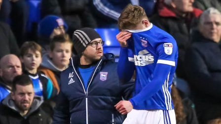 Teddy Bishop's Ipswich Town career continues to be disupted by injury. Picture: STEVE WALLER
