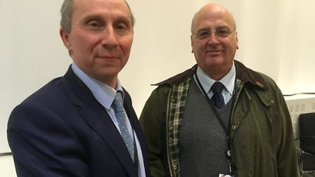 Babergh council leader John Ward with his opposite number from Mid Suffolk, Nick Gowrley. Picture: P