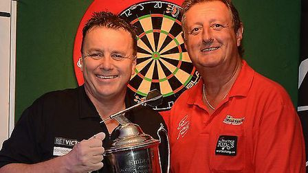 Keith Deller and his friend Eric Bristow. Picture: TWITTER/KEITH DELLER