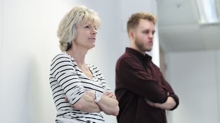 Ink Festival artistic director Julia Sowerbutts in rehearsals with Huw Brentnall. Photo: Sophie le R