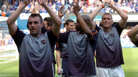 David Unsworth applauds Town fans during his loan spell at the club in 2004/05. Photo: Archant