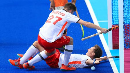 Ipswich and England's Harry Martin (right) and Liam Sandford celebrate their sides foutrth goal of t