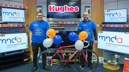 Getting ready for the off: Simon Rush (left) and Sam Potter who will be cycling 100 miles a day for