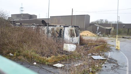 This weekend's fire took place in this old security shed on the Fisons site. Picture: GREGG BROWN