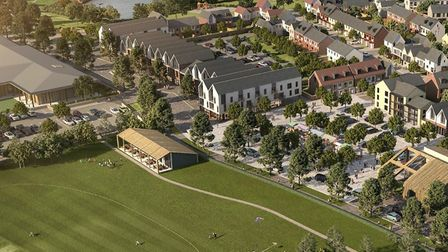 A CGI of what the Adastral Park development may look like around the sporting facilities. Picture: B