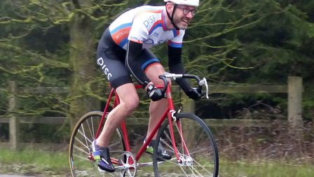 Jason Corner (Diss CC) rides his Geoffrey Butler frame to win the Diss Classic Bike 25. Picture: FER