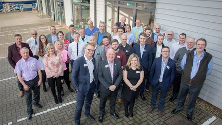 Staff and guests at the Red7Marine new head office at Fox's Marina, Ipswich