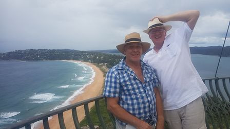Rob and David overlooking Palm Beach in Sydney. Picture: SPENCER ABBOTT