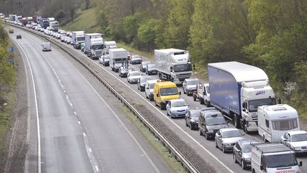 Traffic on the westbound carriageway of the A14 is backed up following a three-vehicle crash near St
