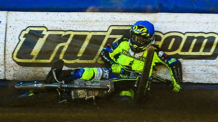 Danyon Hume falls in heat two of the Ipswich v Peterborough (SGB Championship Shield) meeting. Pi