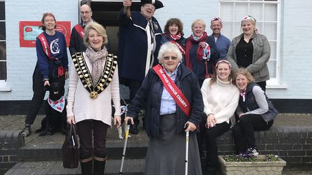 Felicity Hoare joined by the Aldeburgh Mayor and Town Cryer at the opening of the Brain Tumour Day i