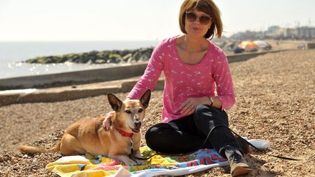 Gill Mason wants to warn dog owners about fish hooks after her dog Amber picked one up on Felixstowe