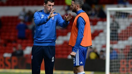 Gerard Nash gives instructions to Cole Skuse ahead of Ipswich Town's 2-1 defeat at Nottingham Forest