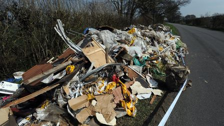 Fly tipping on the side of the road in Finningham Road between Walsham le Willows and Finningham in