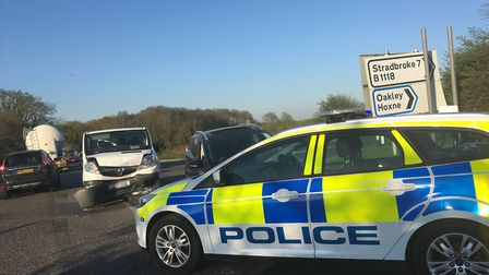 Accident on the A140 near Diss. Picture: IAN CONDRON