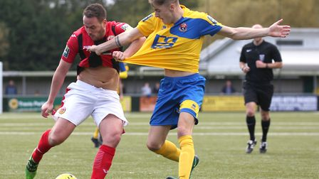 Luke Callander, left, who steered home a dramatic late winner for Heybridge Swifts at Bowers & Pitse