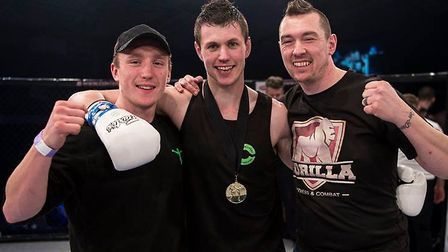 Dean Pattinson, centre, will try to win his first pro title against Milen Hristov at Contenders Kick
