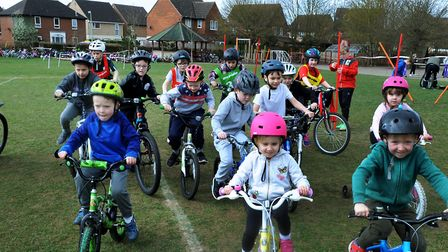 Pupils and staff at Sebert Wood Primary School in Bury St Edmunds taking part in theirn Fit Friday c