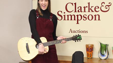 A signed Ed Sheeran guitar is being sold by auction by Clarke & Simpson on Monday April 9, 2018 in s